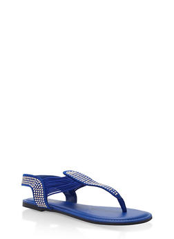 Studded Elastic Thong Sandals - ROYAL BLUE F/S - 1112004067886