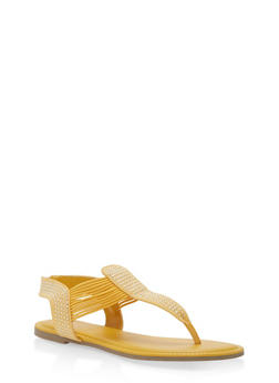 Studded Elastic Thong Sandals - YELLOW F/S - 1112004067886