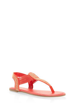 Studded Elastic Thong Sandals - ORANGE - 1112004067886
