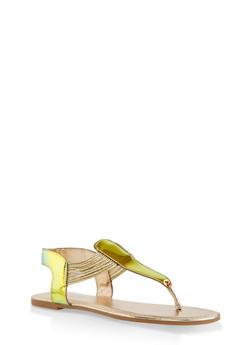 Iridescent Thong Sandals - GREEN - 1112004067890