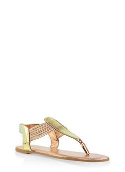 Iridescent Thong Sandals - PINK - 1112004067890