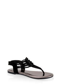 Strappy Slingback Thong Sandals - BLACK SUEDE - 1112004067891