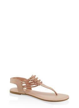 Strappy Slingback Thong Sandals - NUDE - 1112004067891