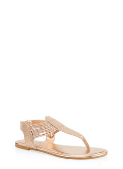 Elastic Thong Sandals - ROSE - 1112004067892