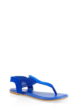 Elastic Thong Sandals - BLUE - 1112004067892