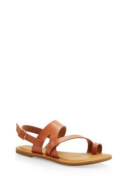 Asymmetrical Toe Ring Sandals - TAN - 1112004067893