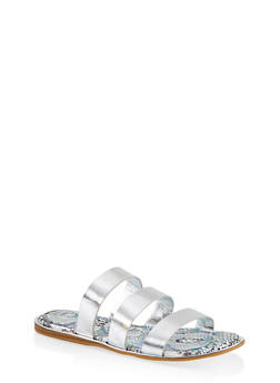 Printed Sole Triple Band Slide Sandals - SILVER - 1112004067896