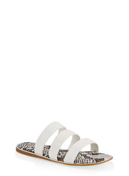Printed Sole Triple Band Slide Sandals - WHITE - 1112004067896
