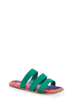 Printed Sole Triple Band Slide Sandals - GREEN S - 1112004067896