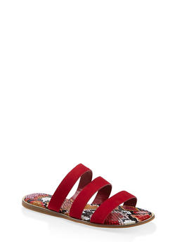 Printed Sole Triple Band Slide Sandals - RED S - 1112004067896