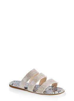 Rhinestone Three Band Slide Sandals - 1112004067898