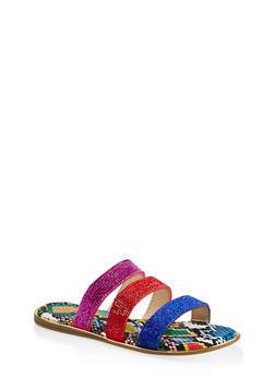 Rhinestone Three Band Slide Sandals - NEON PINK - 1112004067898