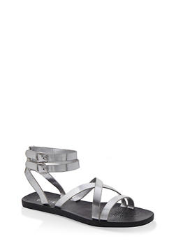 Multi Cross Strap Sandals - SILVER - 1112004067903
