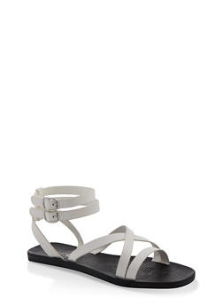 Multi Cross Strap Sandals - WHITE - 1112004067903