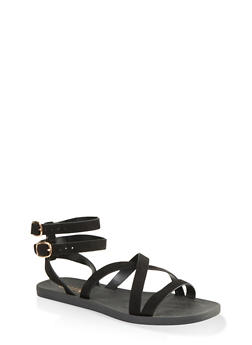 Multi Cross Strap Sandals - BLACK SUEDE - 1112004067903