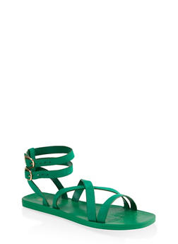 Multi Cross Strap Sandals - GREEN S - 1112004067903