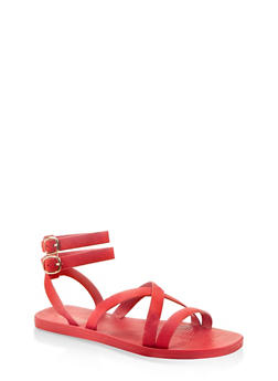 Multi Cross Strap Sandals - RED S - 1112004067903