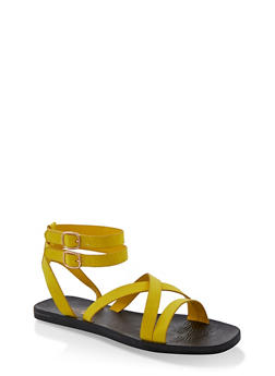 Multi Cross Strap Sandals - YELLOW S - 1112004067903