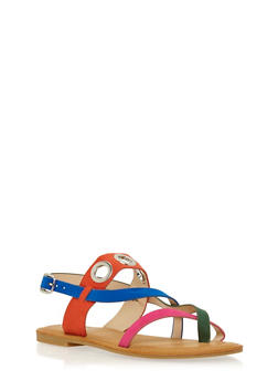 Faux Suede Sandals with Grommet Accents - 1112004068329