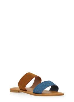 Double Strap Slide Sandals - BLUE DENIM /COGNAC - 1112004068330