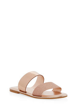 Double Band Flat Sandals - ROSE GOLD/ROSE GOLD - 1112004068344