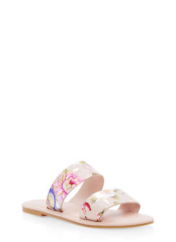 Double Band Flat Sandals - BLUSH FABRIC - 1112004068344