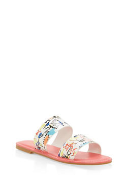 Double Band Flat Slide Sandals - WHITE MULTI - 1112004068344