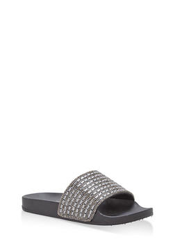 Rhinestone Jeweled Slides - BLACK/BLACK - 1112004068428