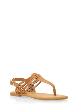 Flat Thong Sandals with Strappy Detail - 1112004068481