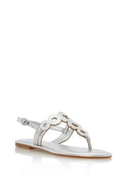 Metallic Circle Thong Sandals - SILVER MPU - 1112004068483