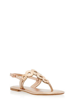 Metallic Circle Thong Sandals - ROSE GOLD MPU - 1112004068483