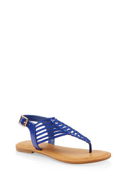 Laser Cut Thong Sandals - 1112004068489