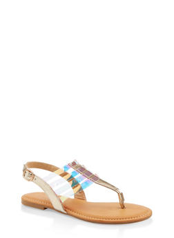 Caged Slingback Thong Sandals - GOLD - 1112004068490