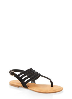 Caged Slingback Thong Sandals - BLACK SUEDE - 1112004068490