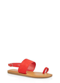 One Band Toe Ring Sandals - RED S - 1112004068728