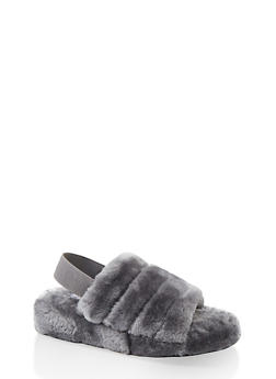 Faux Fur Slingback Sandals - 1112004069278