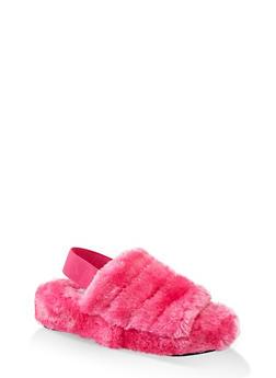 Faux Fur Slingback Sandals - 1112004069278