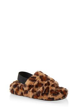Faux Fur Slingback Sandals - LEOPARD PRINT - 1112004069278