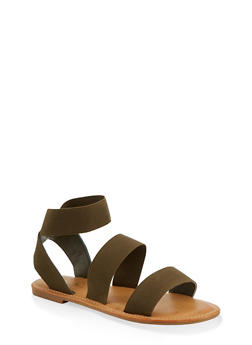 Elastic Double Band Ankle Strap Sandals - 1112004069284