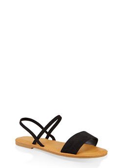 One Band Slingback Sandals - BLACK SUEDE - 1112004069286