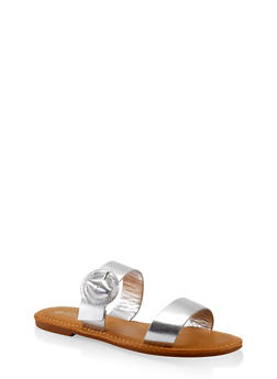 Two Band Buckle Slide Sandals - SILVER - 1112004069292