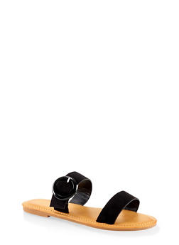 Two Band Buckle Slide Sandals - BLACK SUEDE - 1112004069292
