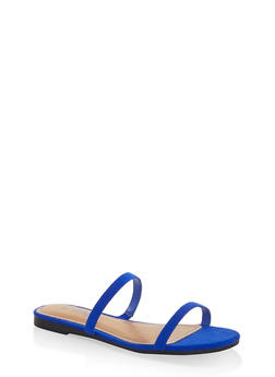 Skinny Band Slide Sandals - ELECTRIC BLUE - 1112004069384