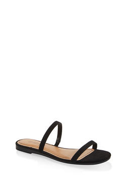 Skinny Band Slide Sandals - BLACK SUEDE - 1112004069384
