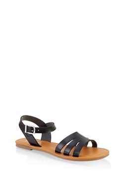 Cut Out Ankle Strap Sandals - BLACK - 1112027612258