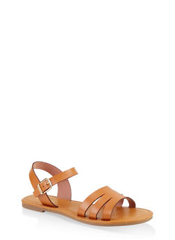 Cut Out Ankle Strap Sandals - 1112027612258