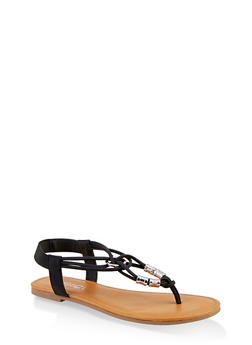 Metallic Beaded Sandals - BLACK - 1112027612259