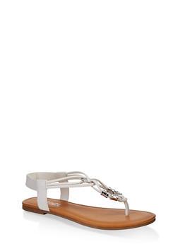 Metallic Beaded Sandals - 1112027612259