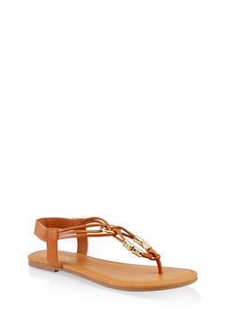 Metallic Beaded Sandals - 1112027612259
