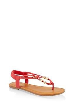 Metallic Beaded Sandals - RED - 1112027612259